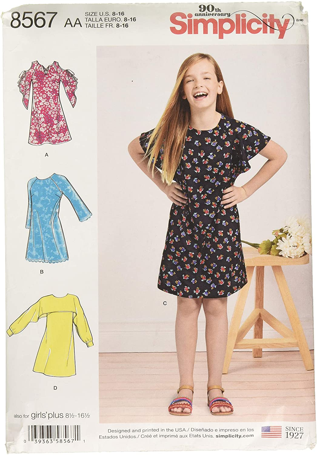 Simplicity US8567AAS Girl's Long Sleeve Dress Sewing Patterns, Sizes 8-16