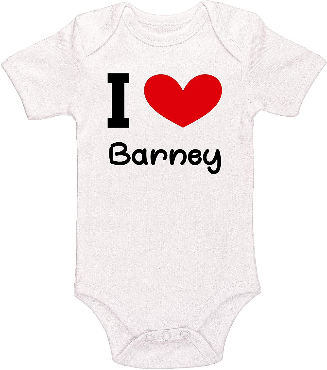 Kinacle I Love Barney Personalized Baby Bodysuit