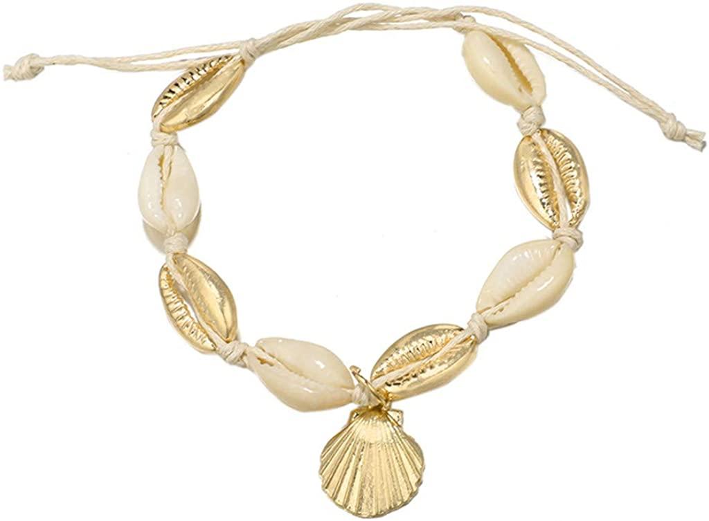 DEESEE(TM) Fashion Geometric Hemp Conch Metal Shell Bracelet Jewelry Gold