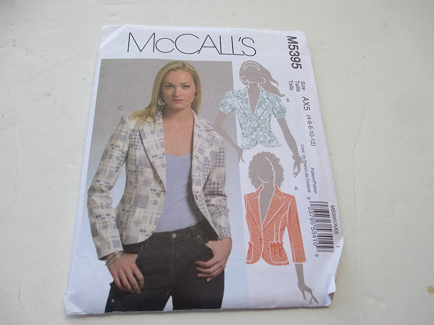 McCall's M5395 Sewing Pattern Misses Unlined Jackets Size Medium AX5 4,6,8,10,12