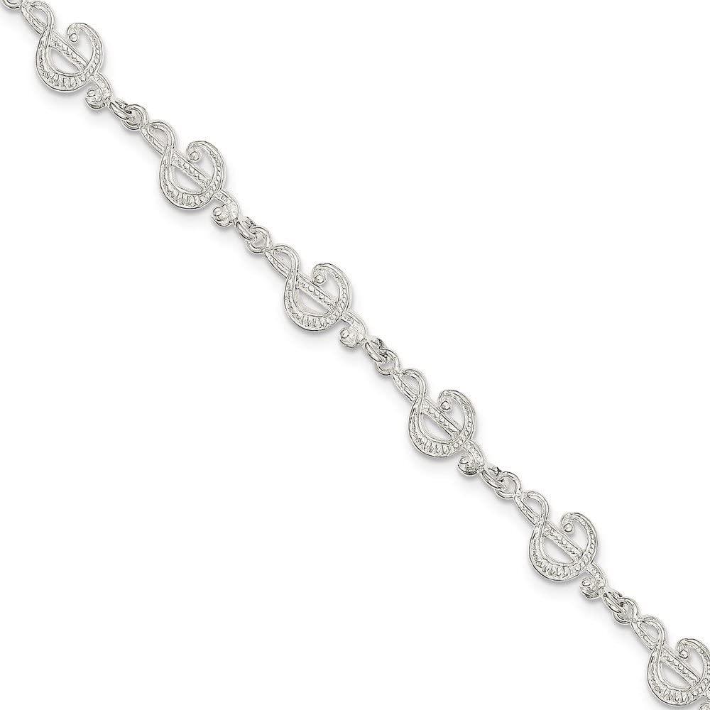 Q Gold Sterling Silver Treble Clefs Bracelet