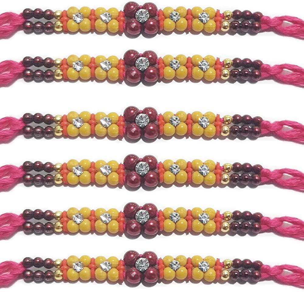 IndiaBigShop Rakhi for Brothers, Beautiful Rakhi With Stone/Beads Design Rakhi Bracelet, Multi Design And Assorted Color - Set Of 6