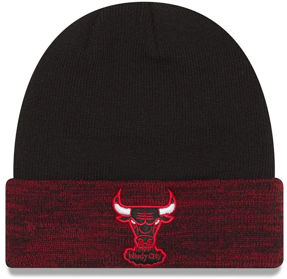 New Era Chicago Bulls 2-Tone Knit Cuffy Beanie Hat One Size Cap OSFA - Red & Black