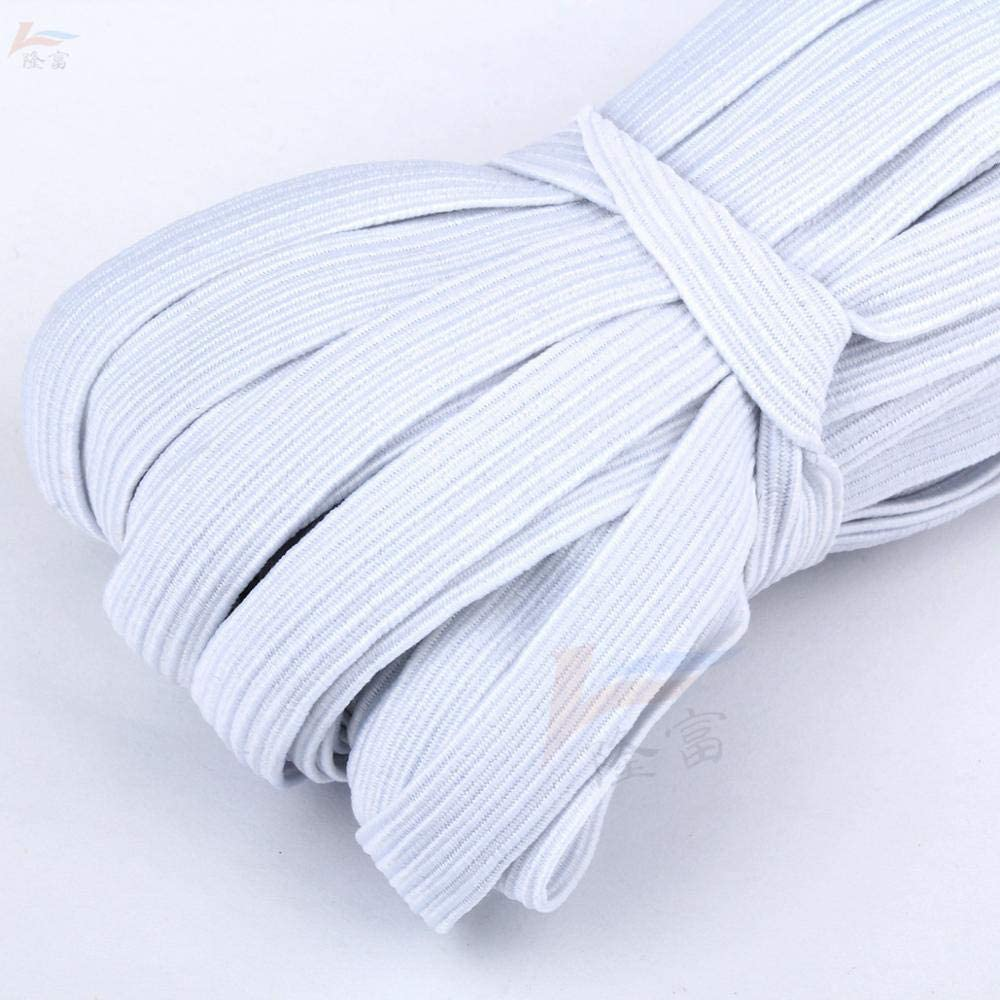 QWERTOUR 3/4/5/6/8/10MM White/Black Flat Elastic Bands Elastic Rubber Band Wedding Garment Elastic Tape for DIY Sewing Stretch Rope acces,10mm,White