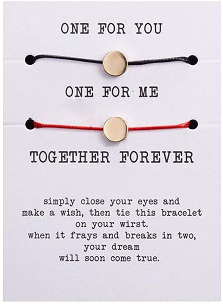 Coin Disc Bracelets Strings Set for Women Men Round Disk Coin Bracelet Friendship Couple Bracelets Girls Jewelry Set 2Pcs