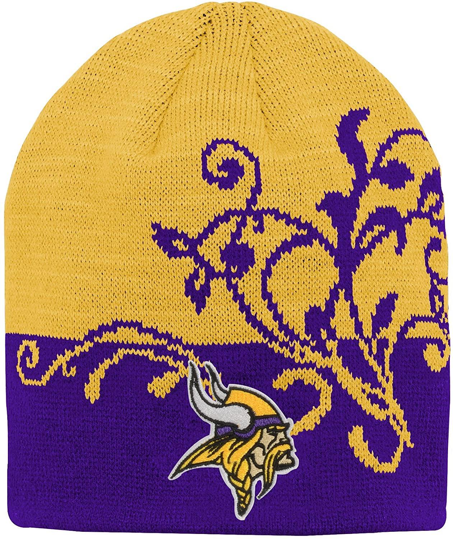 NFL Girls 7-16 Two Tone Cuffless Hat-Regal Purple-1 Size, Minnesota Vikings