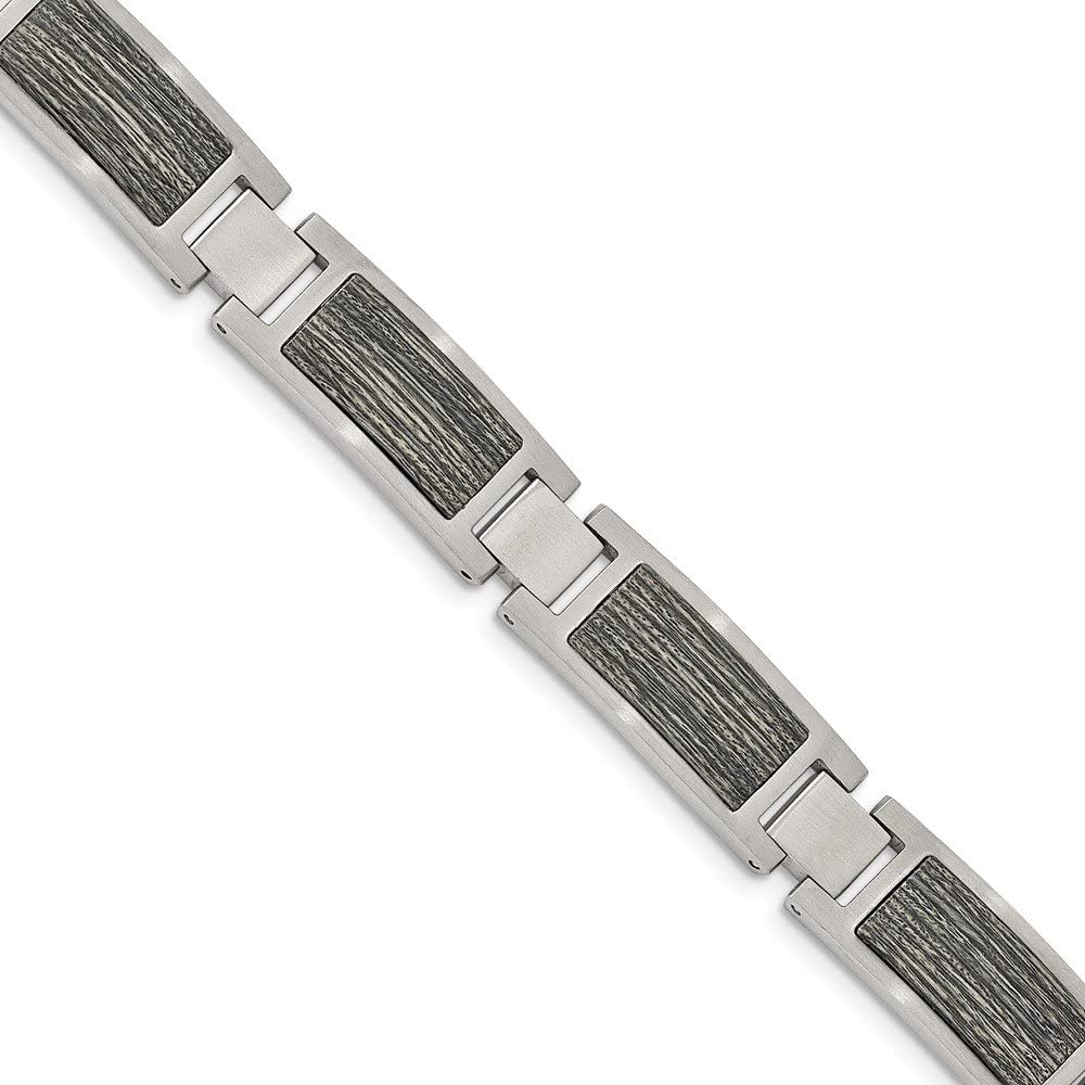 Solid Stainless Steel Brushed with Gray Wood Inlay 8.75in Link Bracelet 8.75