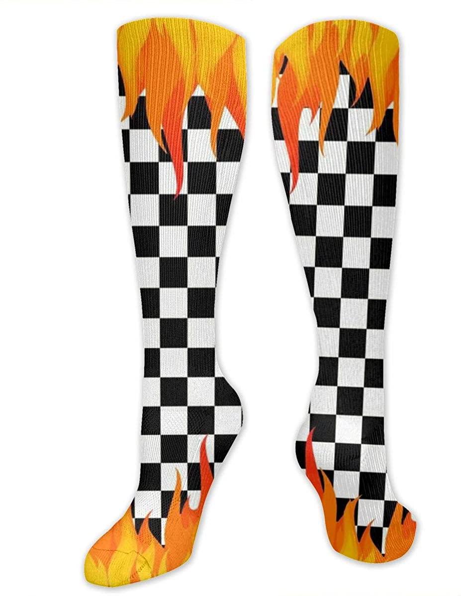 Knee High Socks For Men Women Fire Chess Board Tube Hose Stockings