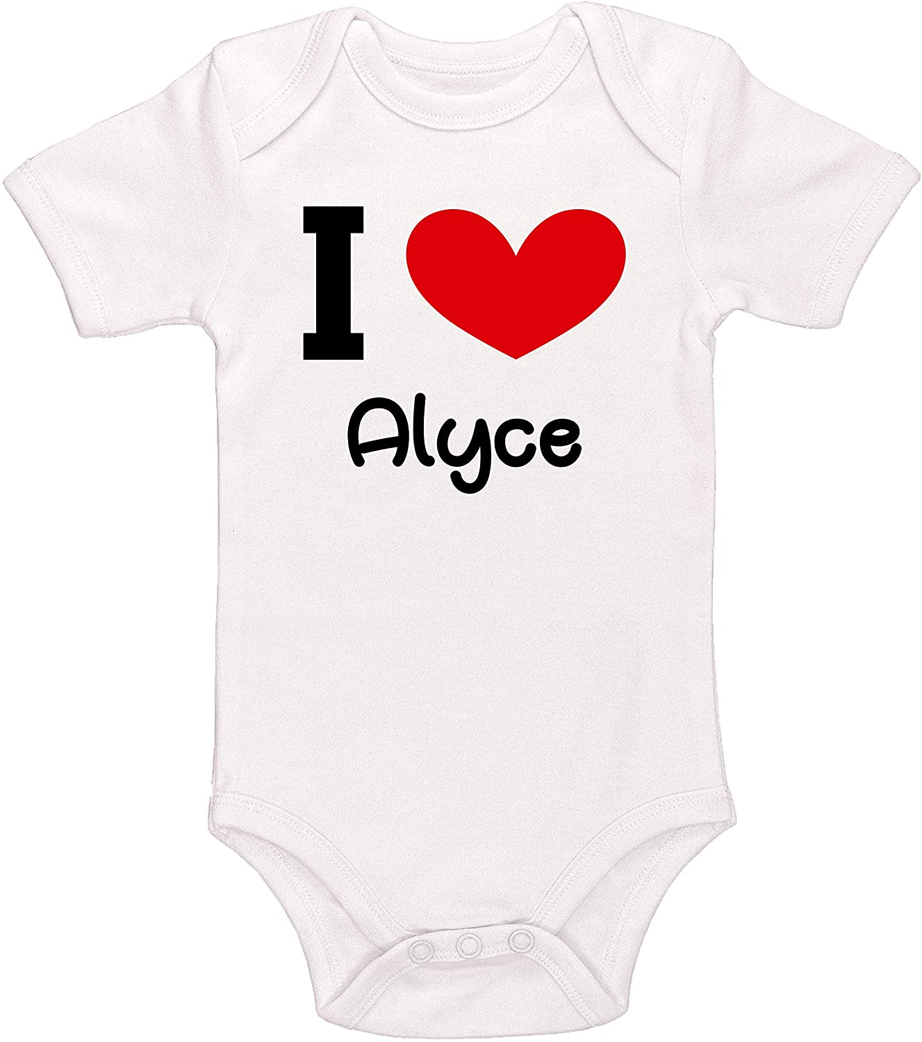 Kinacle I Love Alyce Personalized Baby Bodysuit