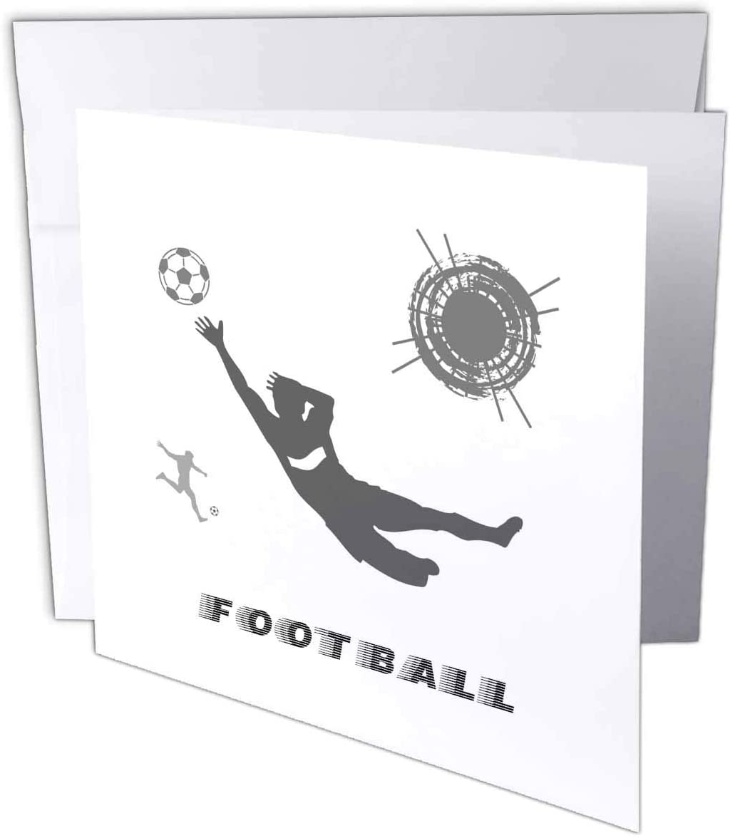 3dRose Football, Soccer. Goalkeeper Catches Ball. Sign Football. Grey, White - Greeting Card, 6 by 6-inch (gc_281078_5)