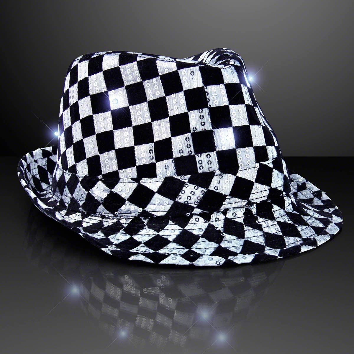 FlashingBlinkyLights Checkered Sequin Light Up LED Fedora Hat