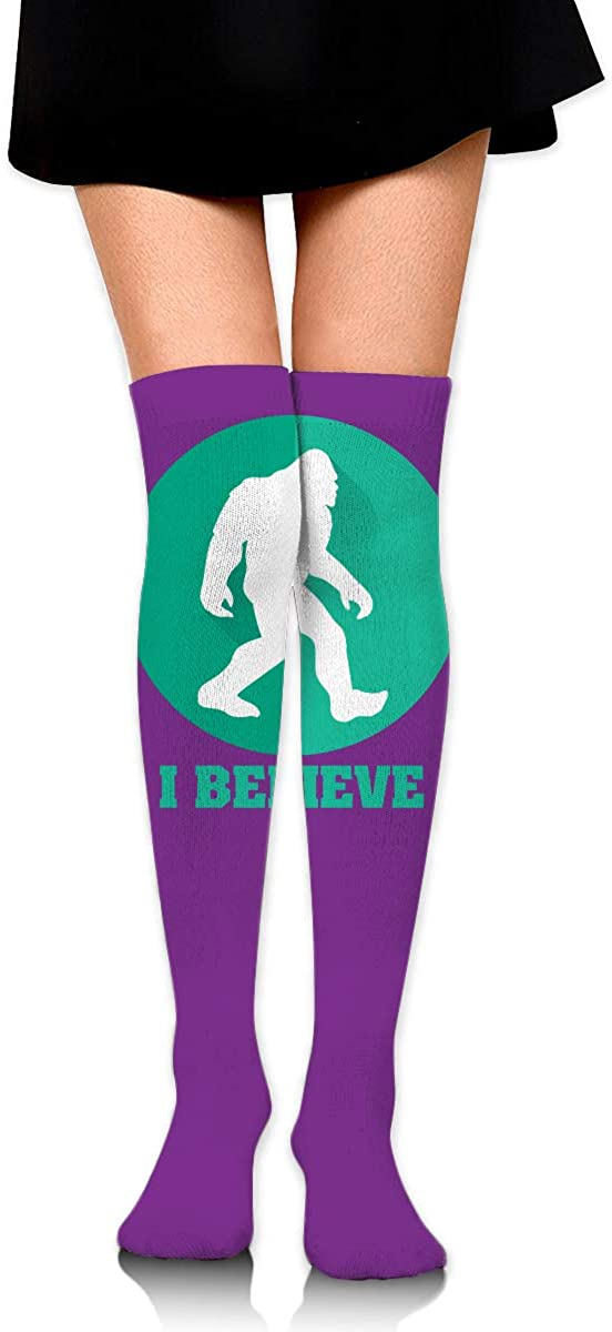 Knee High Socks I Belive Bigfoot Sasquatch Women's Athletic Over Thigh Long Stockings