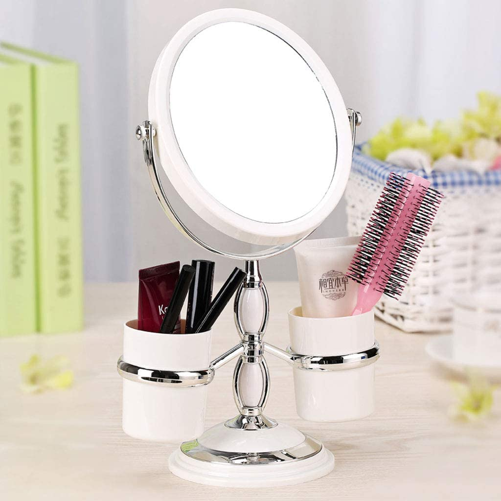 Cylficl Desktop Double Mirror European Makeup Mirror Desktop Mirror Double-Sided Vanity Mirror 3 Times Magnification Portable Mirror (Size : S 6 inch)