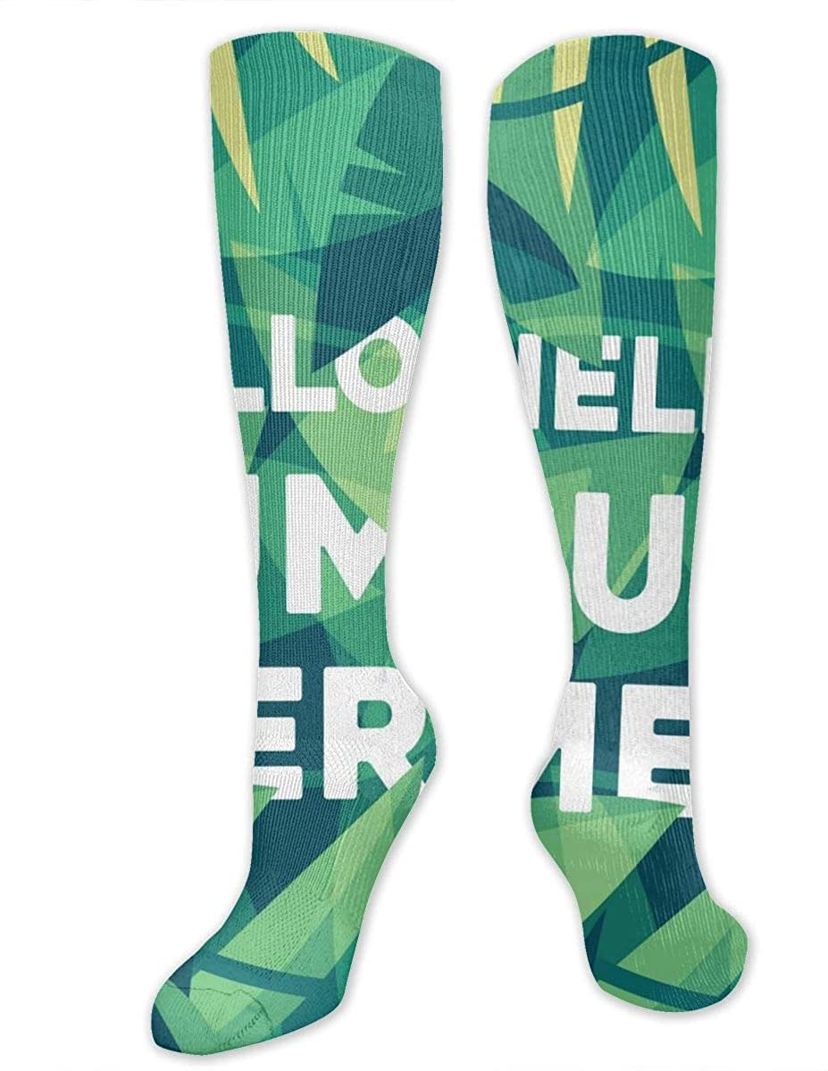 Men Women Knee High Socks Hello Summer Tropical Leaves Workout Hose Stockings
