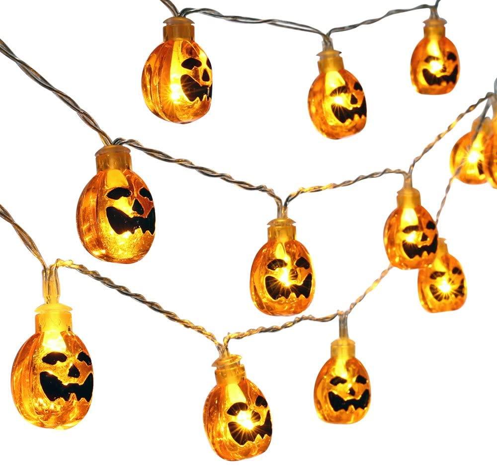 UCTEK Halloween String Lights, 20 LED 9.08ft Pumpkin String Lights, Jack O Lantern Lights String Battery Powered, Indoor Outdoor Halloween Decoration for Home Garden Patio Halloween Theme Party Orange