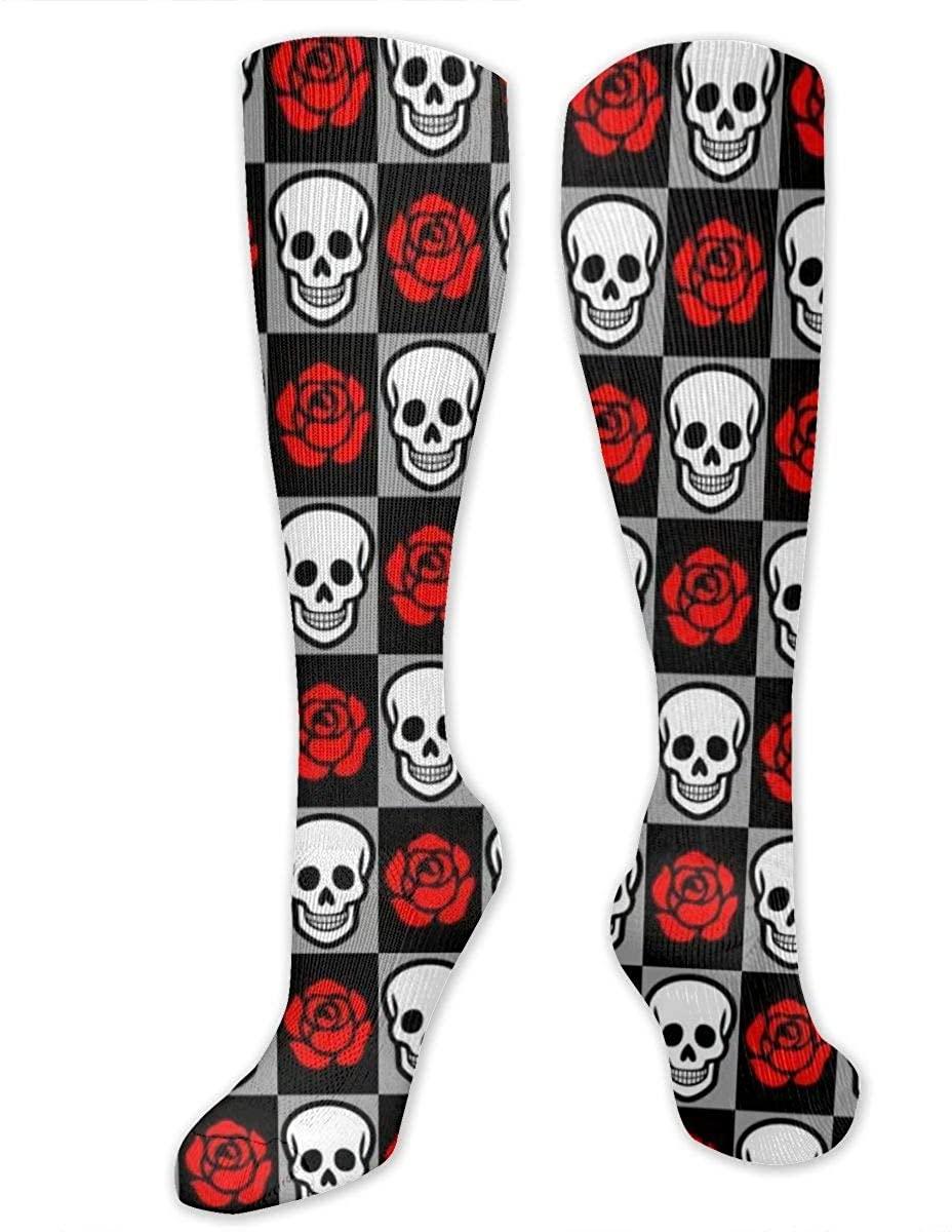 Knee High Sock For Men Women Rose Floral Skull Chessboard Cycling Hose Stockings