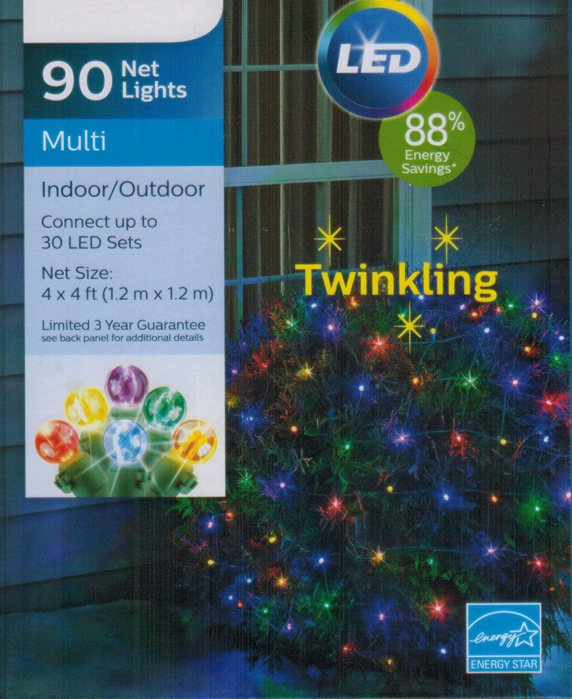 Seasonal Specialties Electrics Inc. 90ct 4' x 4' Twinkling Multicolor Christmas LED Net Lights
