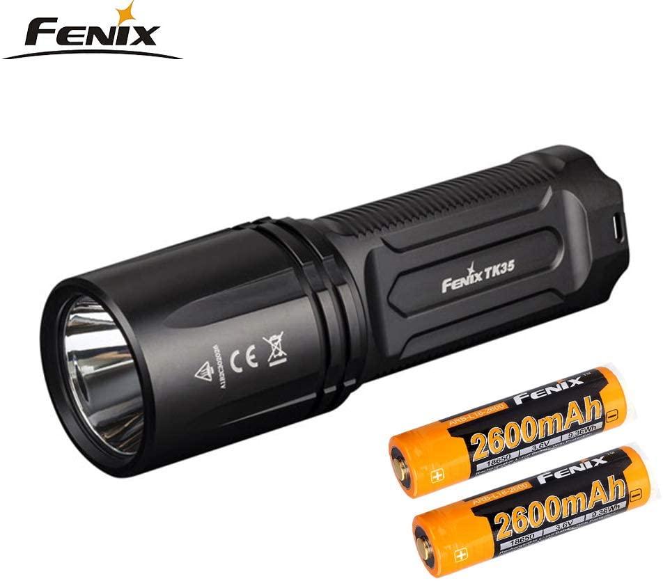 FENIX TK35 2018 Tactical Flashlight Cree XHP35 HI neutral white LED max 1300 lumen rechargeable torch (TK35 + 2600mAh)