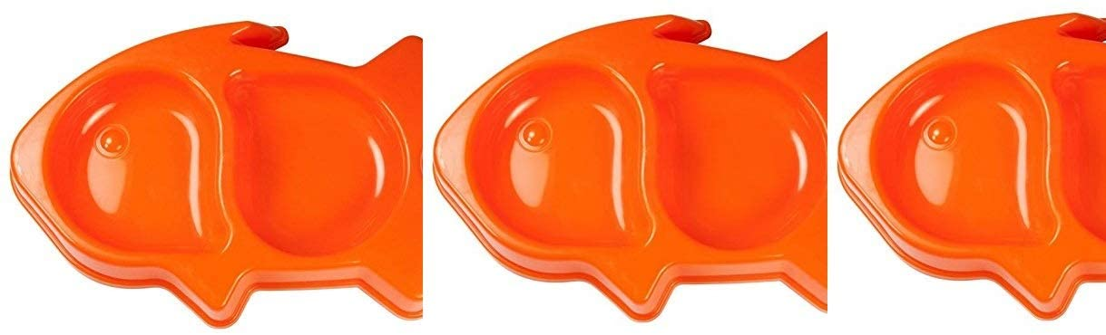 Bow Wow Pals Plastic Fish-shaped Cat Food & Water Bowl, Orange 3 pack
