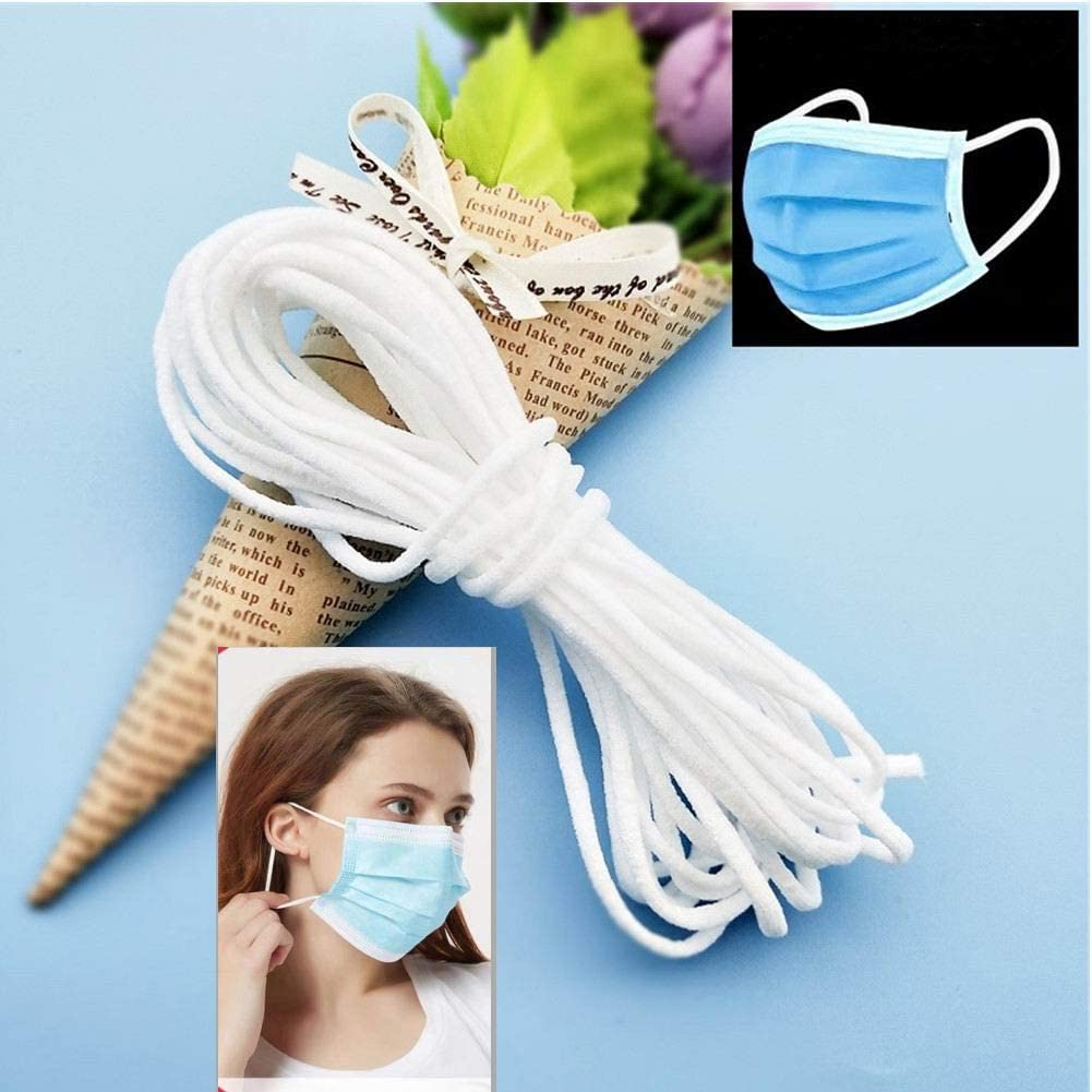 YOUONEO Elastic Cord for Masks, 1/8 Inch White Elastic Bands for Knit Sewing Crafts DIY Ear Band Loop, 10 Yard