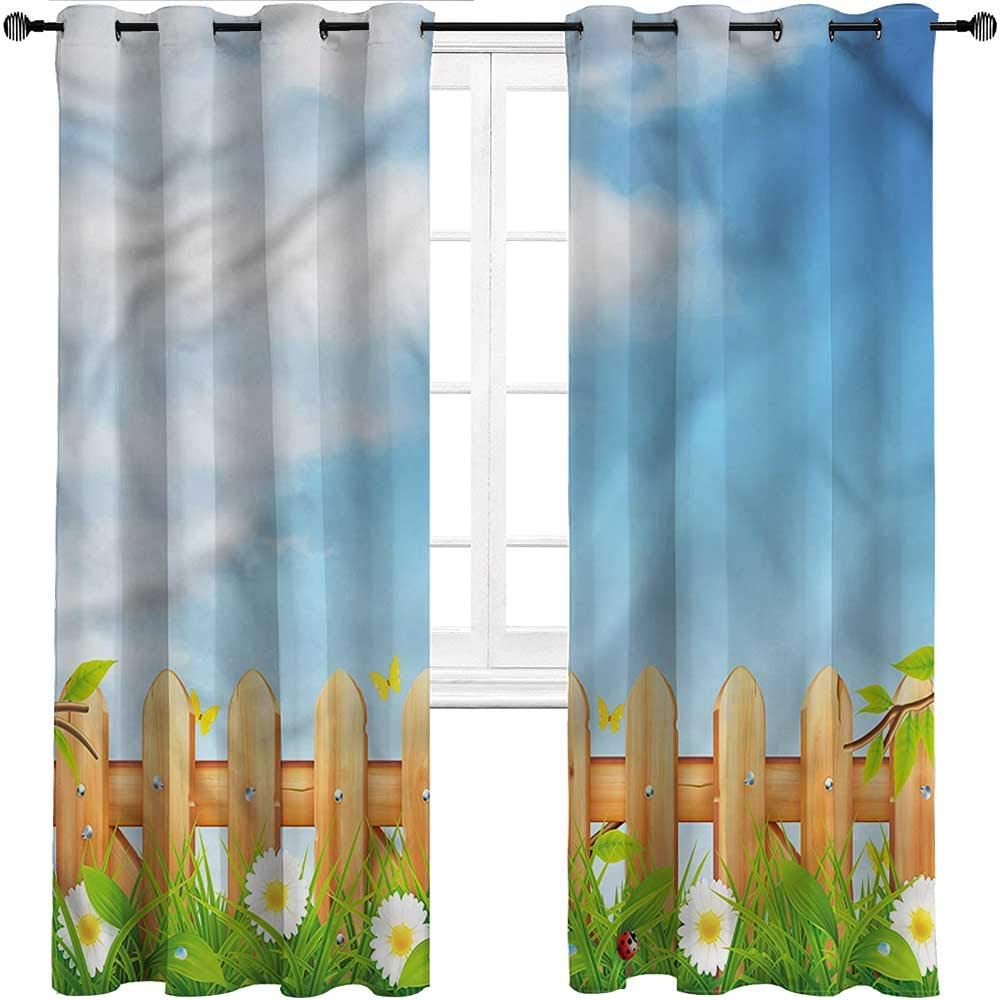 GugeABC Kids Blackout Curtains Farmland Grommet Drapes for Patio Pergola Porch Deck Daisies Ladybugs on Fence,Set of 2 Panels, 120 Width x 84 Length