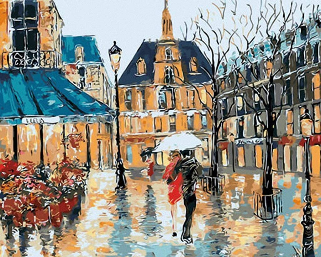 Old Europe Town in Rain Needlepoint Canvas A00492 (18CT Mono Deluxe,12