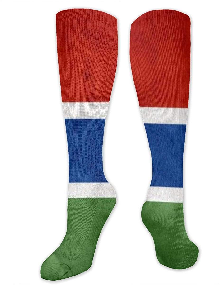 Men Women Knee High Socks Retro Gambia Flag Crew Long Hose Hiking Stockings