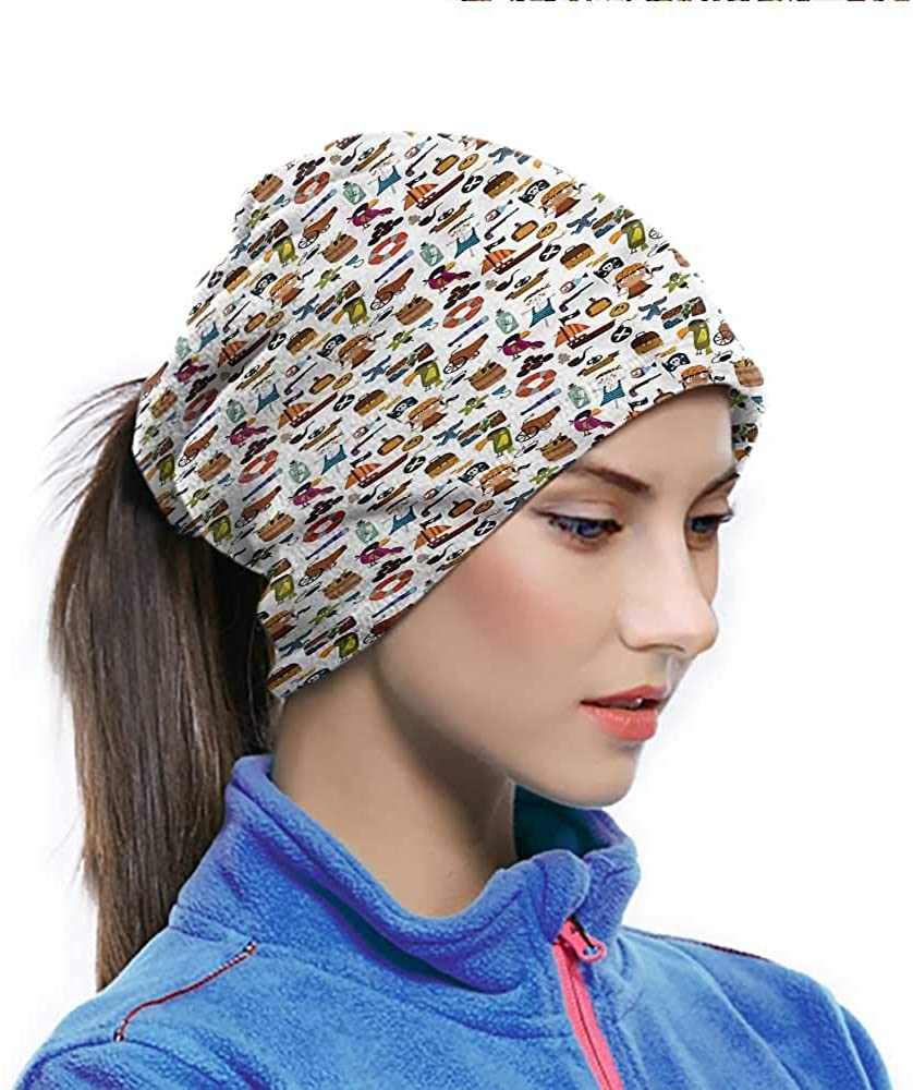 Cycling Scarf Pirates, Cartoon Kids Adventure Multi-purpose Face Cover for Yoga Hiking Riding 10 x 11.6 Inch