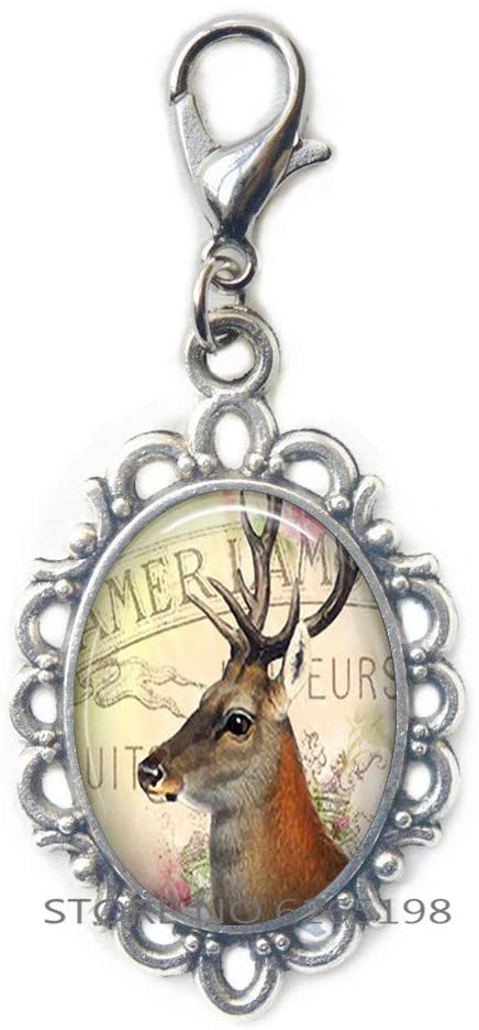 Deer Lobster Clasp, Deer Zipper Pull Deer Art Jewelry Gift for Nature Lover or Camper,Art Lobster Clasp,N362