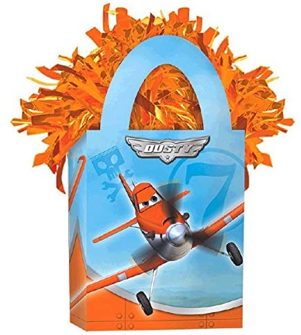 Amscan Boys Disney Planes Dusty and Friends Mini Tote Party Balloon Weight, 5.7 oz, Blue/Orange