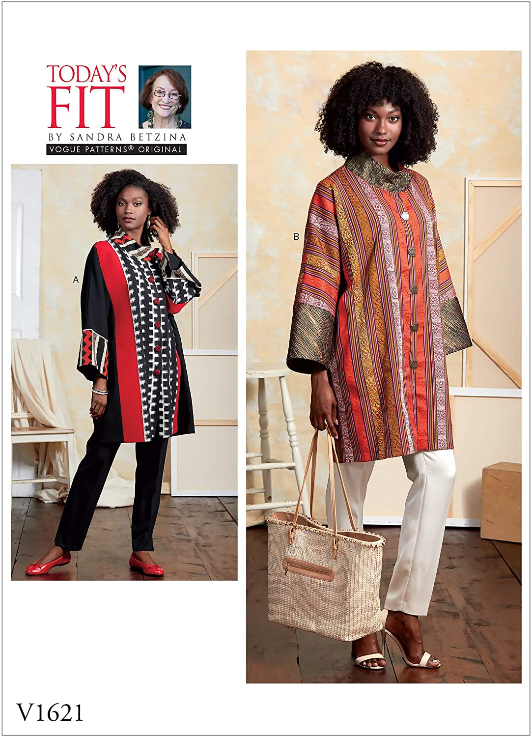 Vogue V1621A Women's Loose Coat Sewing Pattern from Today's Fit by Sandra Betzina, All Sizes