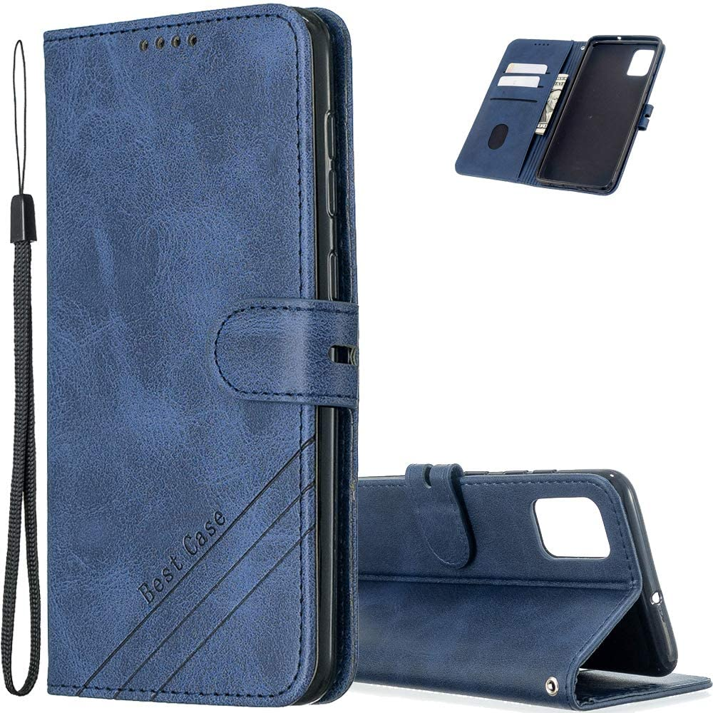 EMAXELERR Samsung Galaxy A31 Case Cover Retro Luxury Premium PU Leather Shockproof Wallet Flip Magnetic Protective Cover with Credit Card Slot for Samsung Galaxy A31 Blue HX.
