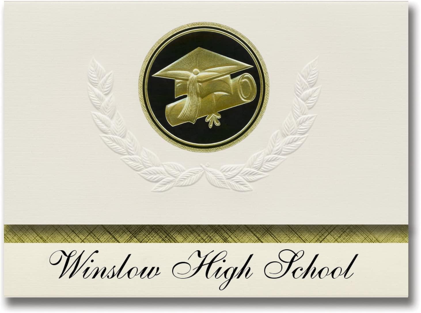 Signature Announcements Winslow High School (Winslow, AZ) Graduation Announcements, Presidential style, Elite package of 25 Cap & Diploma Seal. Black & Gold.