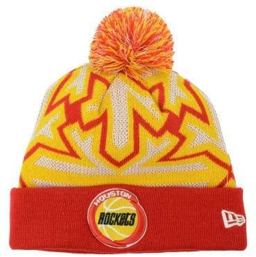 New Era Houston Rockets Knit Cuff Beanie w/Pom Hat One Size Fits All Glowflake Red/Gold/White Hat - Glow in The Dark