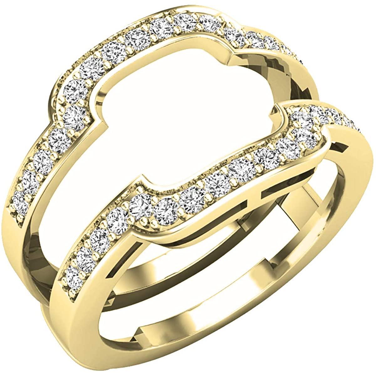 Dazzlingrock Collection 0.45 Carat (ctw) Round Lab Grown Diamond Ladies Guard Double Wedding Band 1/2 CT, 10K Gold
