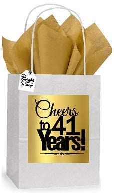 41st Cheers Birthday/Anniversary White and Gold Themed Small Party Favor Gift Bags Tags -12pack