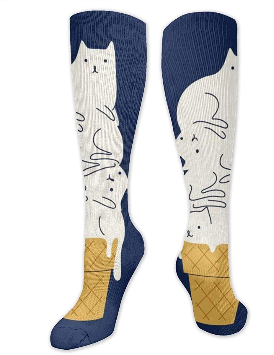 Men Women Knee High Socks Cute Cartoon Cat Icecream Design Boot Tube Hose Long Stockings