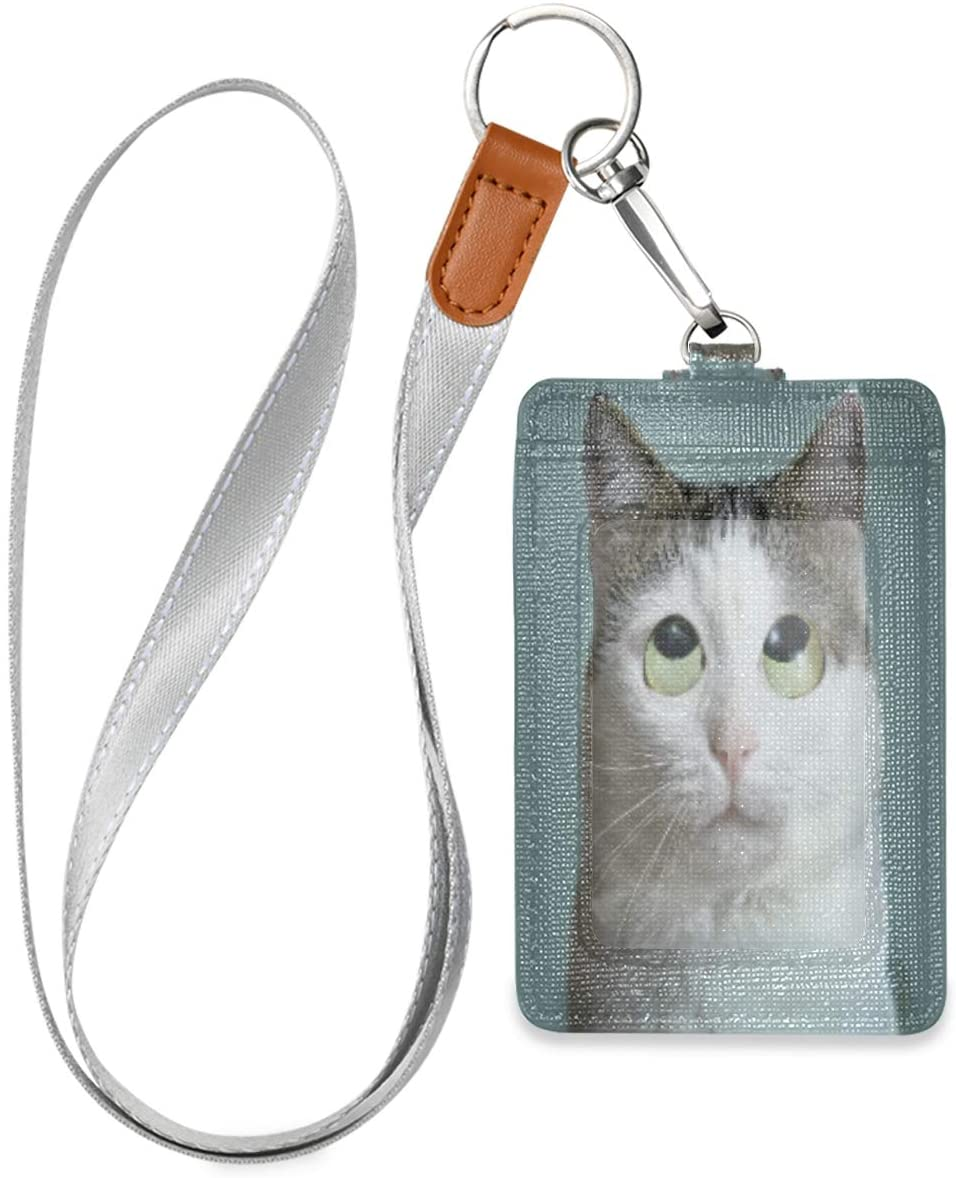 Work Id Badge Holder Funny Cat Roll Eyes Close Up Photo Badge Holders Vertical with Lanyard for Women Leather Cute Card Badge Holder for Office School Id, Credit Metro Access Cards, Driver Licence