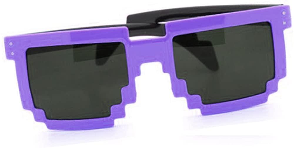 8-Bit Pixel Sunglasses Video Game Geek Party Favors (Purple)