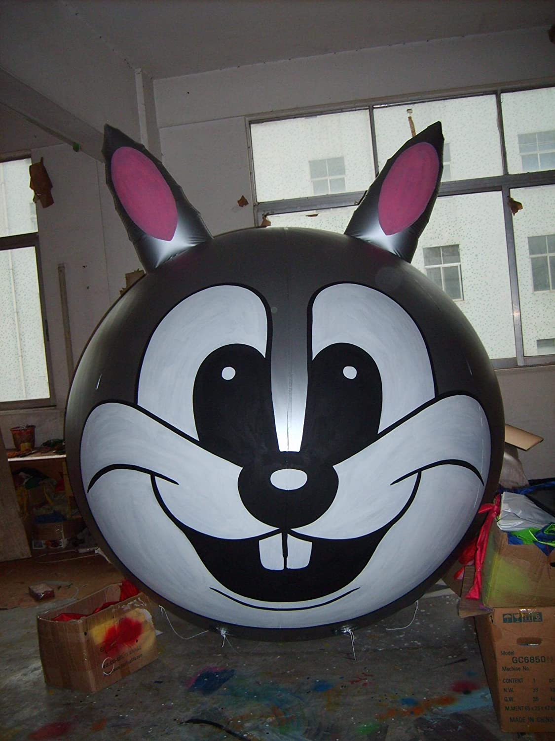 Flying Advertising Inflatable panda/rabbit/pig/ox animal head balloon