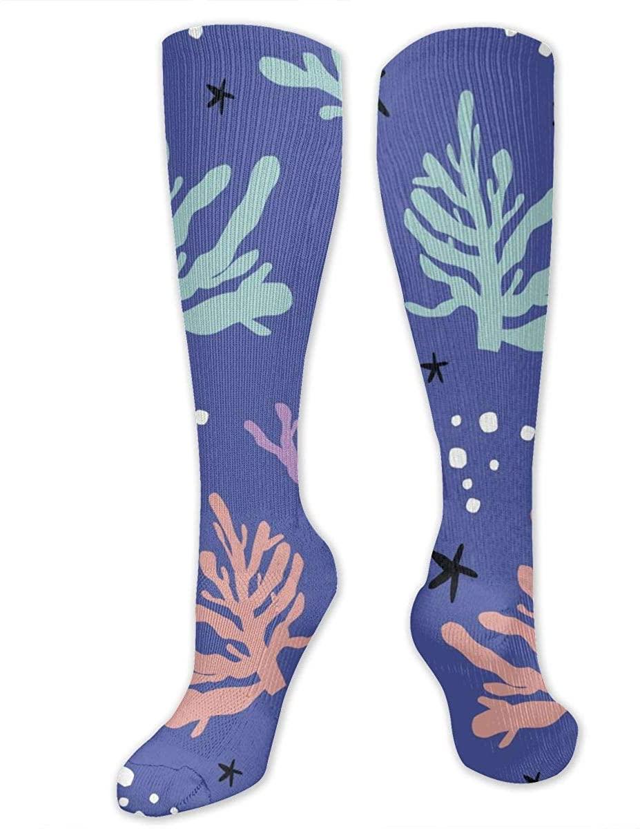 Men Women Knee High Socks Sea Ocean Corals Seaweed Starfish Tube Hose Stockings