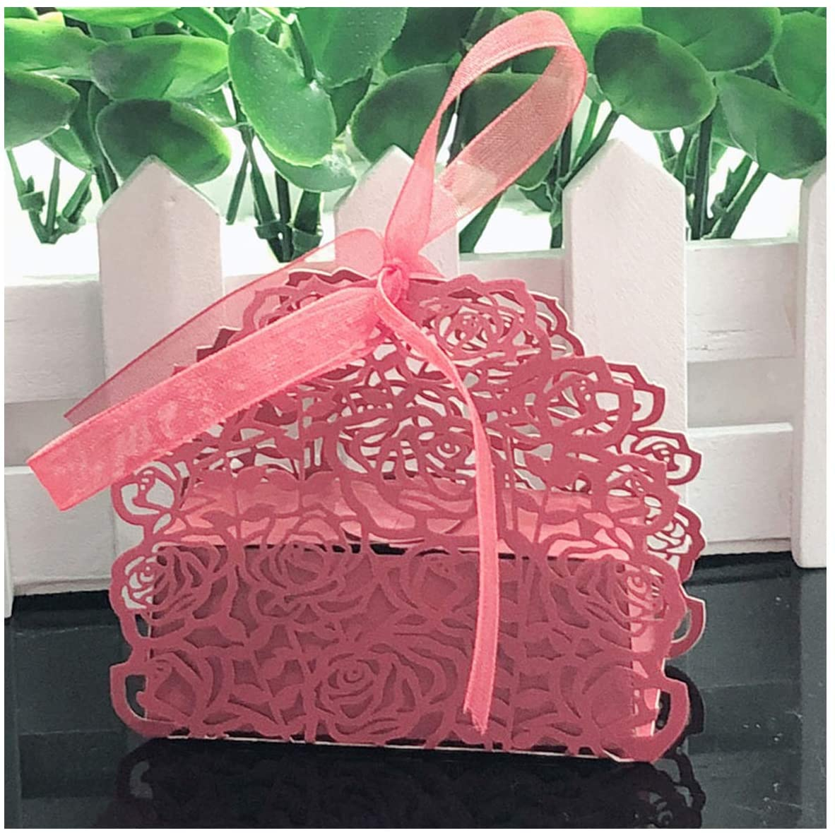 10Pcs Rose Flower Shaped Laser Cut Hollow Carriage Gift Bags Candy Boxes with Ribbon Wedding Favors Party Supplies,Red,7.5X4.5X6.5Cm