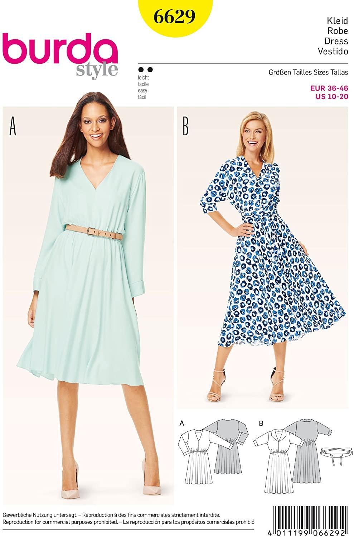 Burda Ladies Easy Elastic Waist Dresses Sewing Pattern 6629