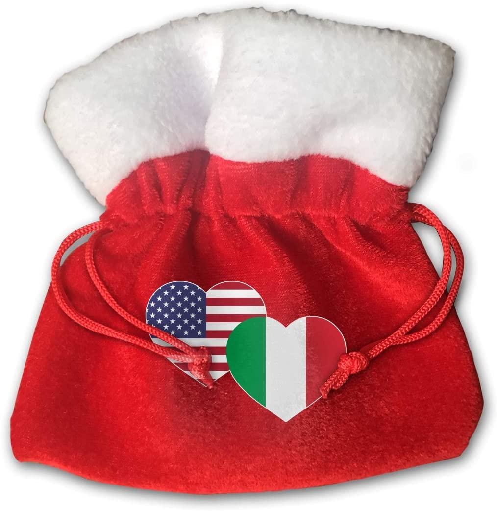 S-charm Small Bags US Italian Flag Heart Pleuche Drawstrings Gift Bags, Pack of 2
