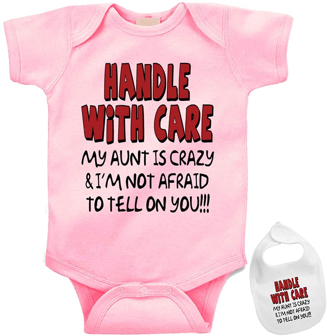 Handle with Care, Ill Tell on You! Custom Baby Bodysuit Onesie & Matching bib.