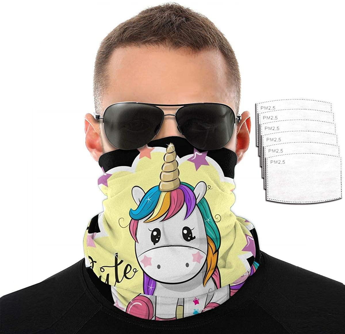 Rainbow Unicorn Balaclavas Scarf Variety Face Towel With 2/6/10 Filter Soft Bandanas