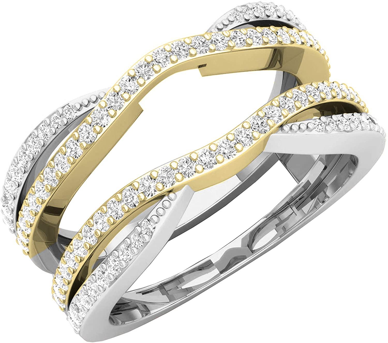 Dazzlingrock Collection 0.50 Carat (ctw) 10K White & Two Tone Round Diamond Ladies Wedding Chevron Ring 1/2 CT, Yellow Gold