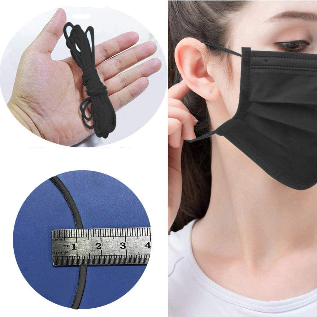 CocoMarket 50M Elastic String Cord Bands Rope for Sewing Crafts DIY Handmade Face-Guard Elastic Ear Tie Rope Strap (Black-10m)
