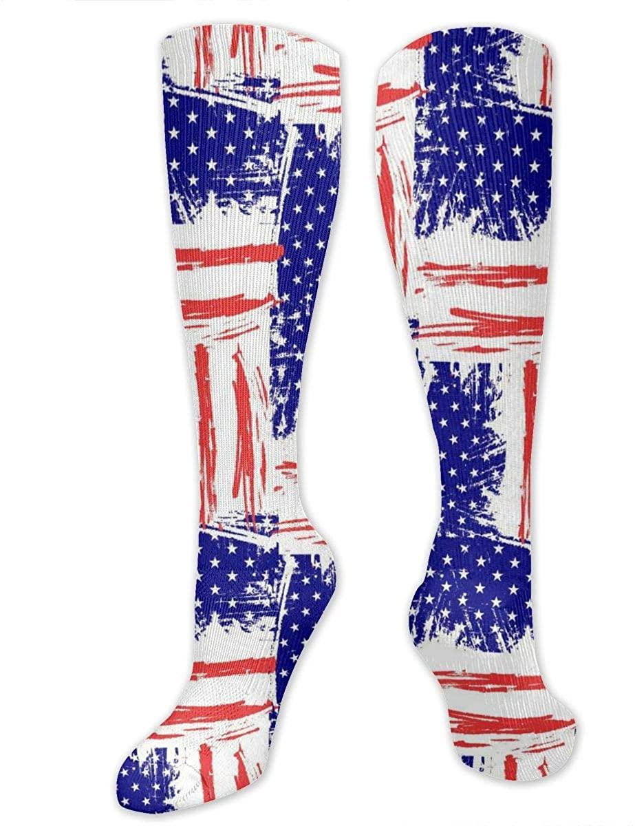 Men Women Knee High Socks Usa Flags United States American Yoga Hose Stockings