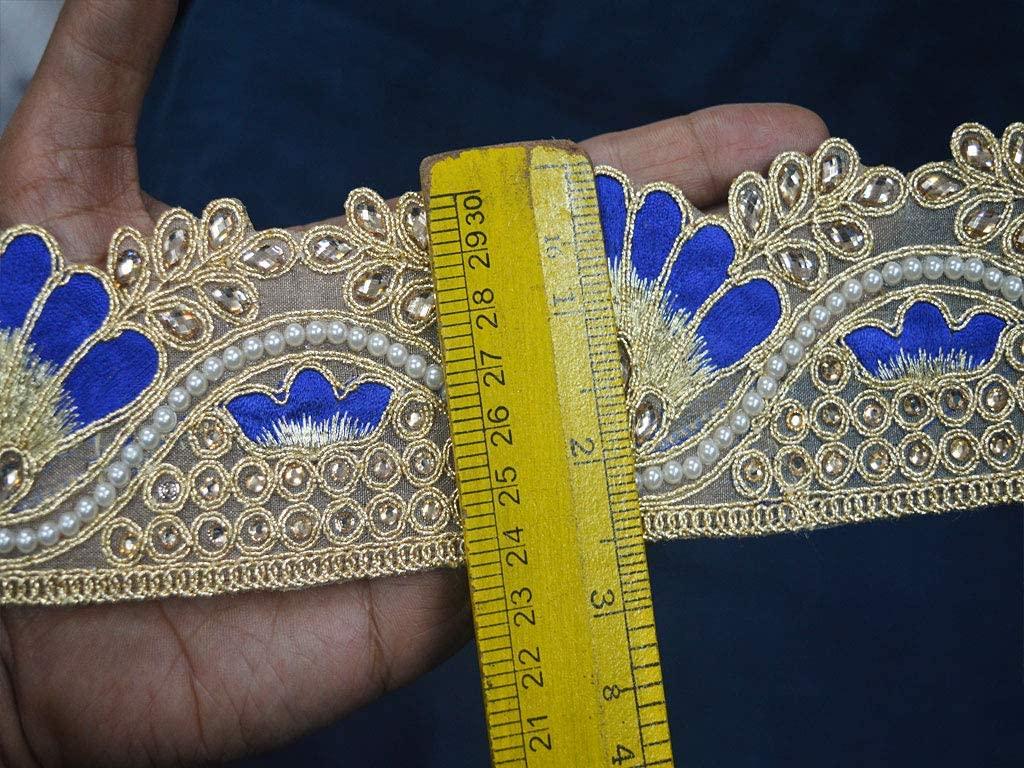 Wholesale Blue and Gold kundan Beaded Sari Border Decorative Stone Work Costume Trim by 9 Yard Sewing Dresses Crafting Garments Accessories Costume Designer Fashion Blogger